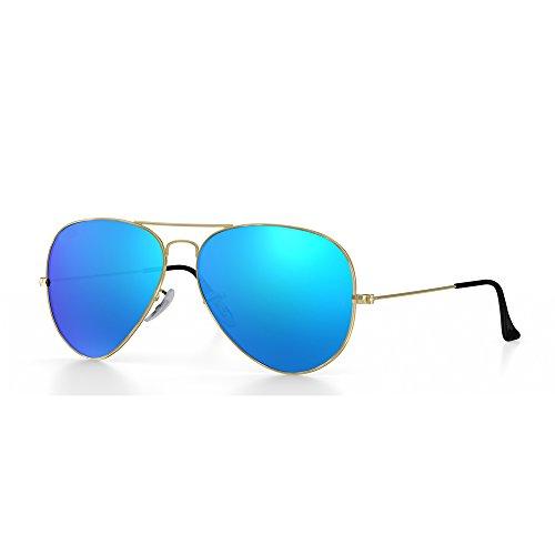 FENGDA Premium Classic Full Mirrored Aviator Sunglasses Street Fashion-Flash Mirror Lens UV400 Reflective-Blue