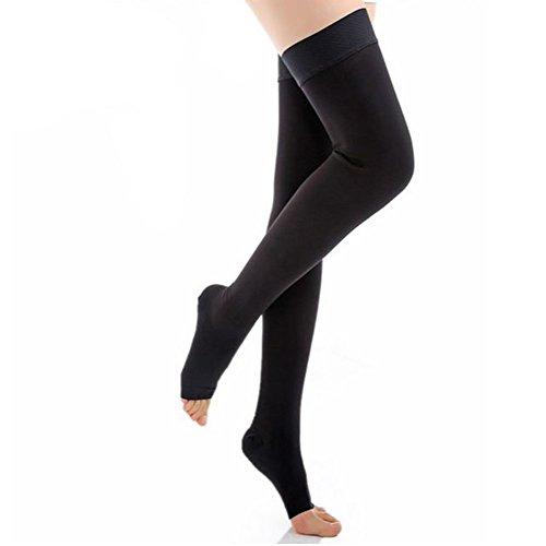 CTKcom Compression Stockings-Thigh High Microfiber Open Toe Medical Tight Socks 20-30mmHg,Black,Small