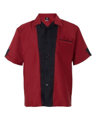 Hilton Men's Full-Button Front Retro Bowling Shirt, Cranberry/ Black, -