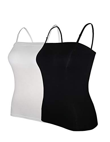 (Tank Tops for Women Removable Strap Camisole with Built in Padded Bra Vest Cami Sleeveless Top 2 Pack Black and White XL)