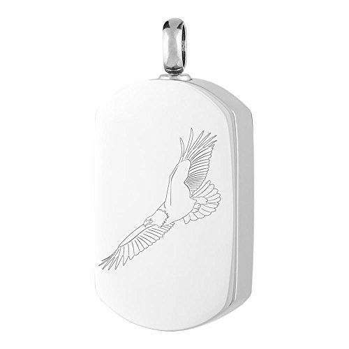 Perfect Memorials Soaring Eagle Dog Tag Stainless Steel Cremation Jewelry