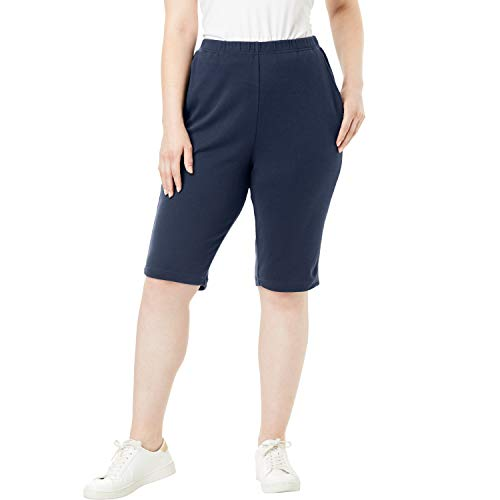 (Roamans Women's Plus Size Soft Knit Bermuda Shorts - Navy, 1X)