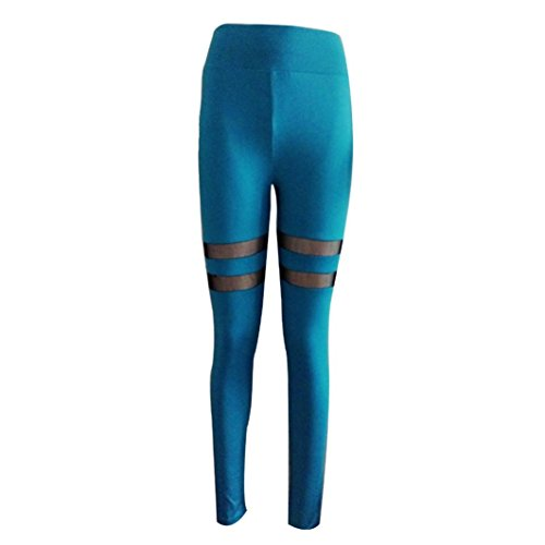 HARRYSTORE Mujer Legging elástico Deportes Pantalón Entrenamiento de Yoga Deportes Aptitud Pantalones Azul