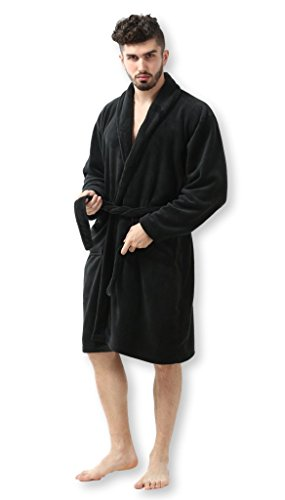 Pembrook Men's Robe – Black - Size S/M - Soft Fleece – Hotel Spa Bathrobe