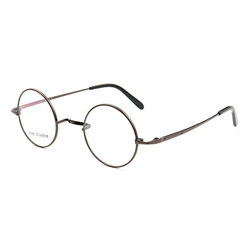 (100% Pure Titanium Classic Nerd Wizard Student Prescription Eyeglass Frames (Coffee))