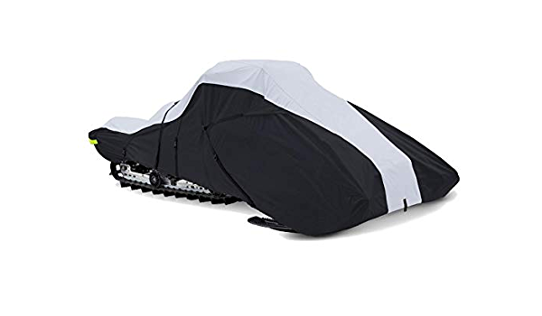 OVCRNIBI Trailerable Snowmobile Cover Waterproof Snow Machine Sled Cover Large Sledgear Storage Cover Fits Polaris 800 RMK 155 for Model Years 2005-2016 Black