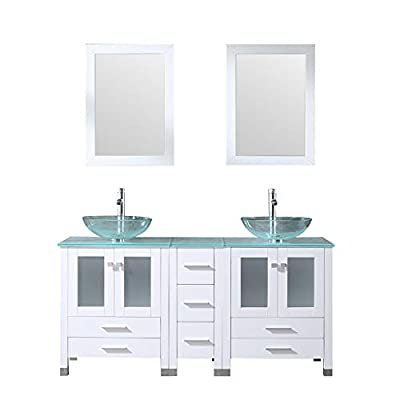 """60"""" White Bathroom Vanity and Sink Combo Glass Vessel Sink with Faucet Combo"""