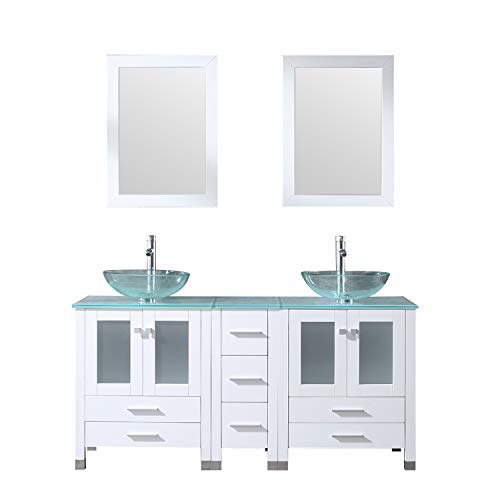 Walcut 60Inch White Bathroom Vanity and Sink Combo Solid MDF Cabinet with - Combo Mirrors And Vanity Bathroom Top