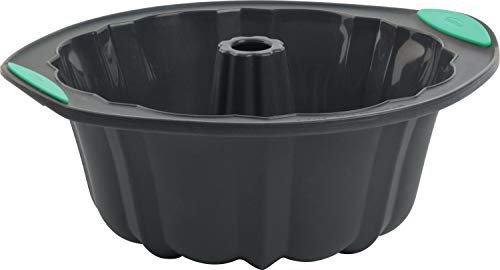 Trudeau 5115204M 05115204M Structured Silicone Fluted Bundt pan, 10 cup, Grey & Mint