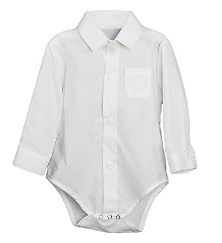 Little Things Mean A Lot Unisex Baby Poly Cotton Button Up White Dress Shirt Bodysuit Romper w/Collar-18M (Oxford Baby Bodysuit)