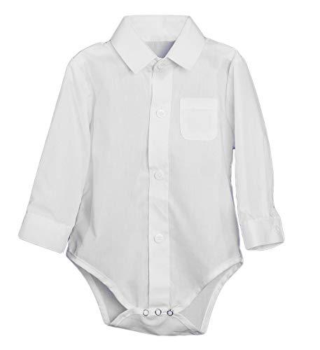 Dress Shirt Bodysuit (Little Things Mean A Lot Unisex Baby Poly Cotton Button Up White Dress Shirt Bodysuit Romper)