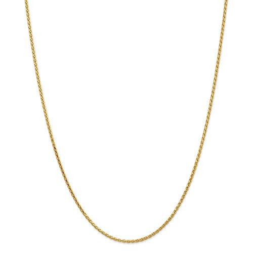 Mia Diamonds 14k Solid Yellow Gold 1.9mm Round Diamond-Cut Wheat Necklace Chain -24