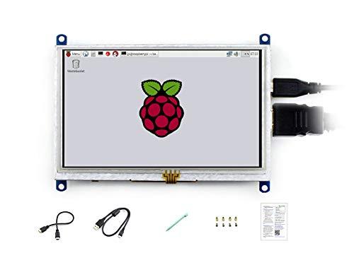 waveshare 5 Inch Resistive Touch Screen LCD(B) 800X480 High Resolution HDMI USB Interface for Raspberry Pi/BB Black/Banana Pi Mainboard/Raspberry Pi 3 Model B/3B+