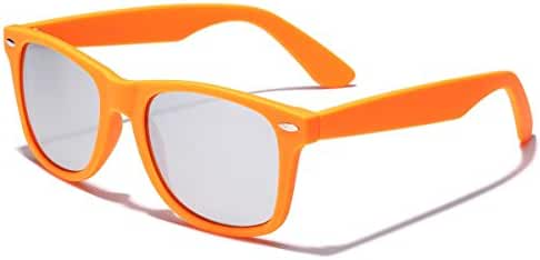 Colorful Retro Fashion Sunglasses - Smooth Matte Finish Frame - Silver Mirror Lens