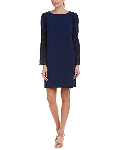 Sateen Swing - Adrianna Papell Women's Trapeze Swing Dress With Lace Trimmed Bell Sleeves Navy Sateen 12