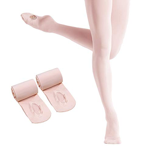 Ballet Tights for Girls,Dance Convertible Ballet Tights,Ultra Soft Ballet Ballet Footed Tights With Holes(Pink 2 Pairs,Large)