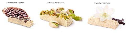 Absolutely Gluten Free TahiniBar, (Variety Pack 21 Bars) 7 Vanilla, 7 Pistachio, 7 Coco-nibs