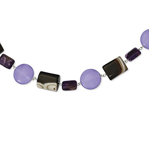 ICE CARATS 925 Sterling Silver Amethyst/lavender Jade/sardonyx/tigers Eye Chain Necklace Natural Stone Fine Jewelry Ideal Gifts For Women Gift Set From (Sterling Silver Lavender Jade Necklace)