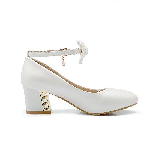 Rein Weiß Schuhe Absatz Mittler Leder Zehe Spitz PU AllhqFashion Damen Pumps Schnalle PBxpWqtw
