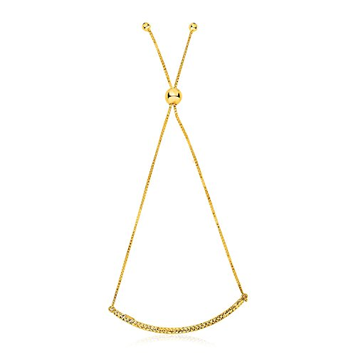 14K Yellow Gold Chain Bar Lariat Style Bracelet by Jewels By Lux