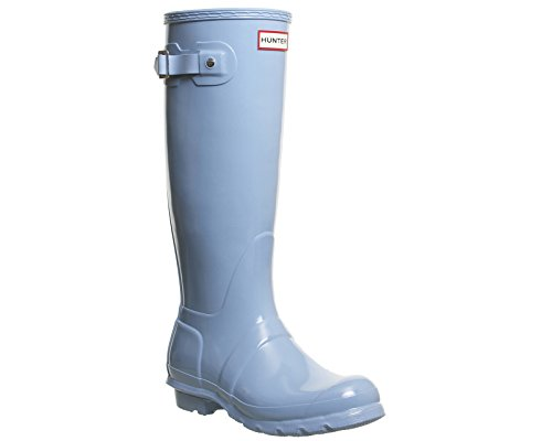 Hunter Orignal Tall Pale Blau Gloss Damen Wellington Stiefel Blau