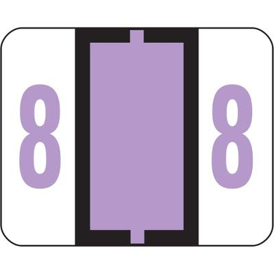 Smead SMD67378 Single Digit End Tab Labels, Number 8, Lavender-On-White, 500/Rol, White ()