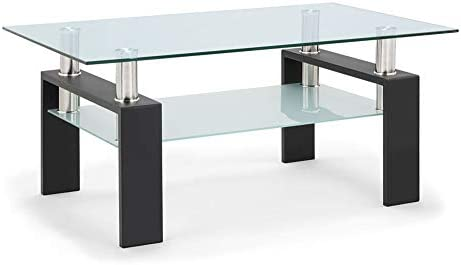 DKLGG Glass Coffee Table, Center Tables for Living Room with Lower Shelf Rectangle Black