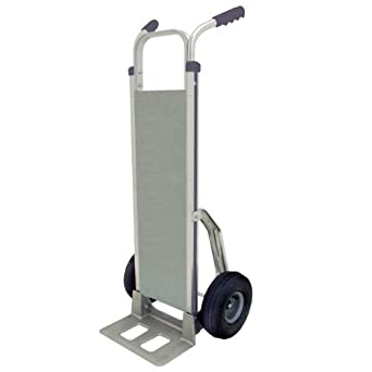 "RWM Casters Aluminum Fixed Hand Truck with Vertical Loop Handle and Aluminum Deck, Rubber Wheels, 500 lbs Load Capacity, 53"" Height, 14"" Width x 7-1/2"" Depth"