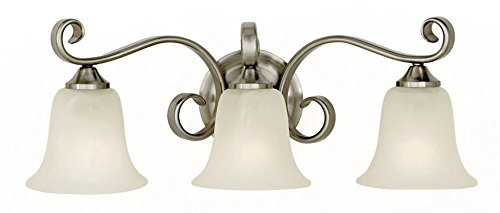Feiss VS10403-BS Vista Glass Wall Vanity Bath Lighting, Satin Nickel, 3-Light (23