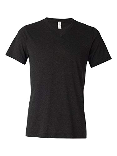 Bella-Canvas C3415 Unisex Short Sleeve V-neck Tee, Charcoal-Black Triblend - Large from Bella