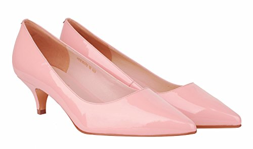 Women's pink Genuine and Dress for Leather Cut Low Verocara Patent Working Toe Party Low Pump Vamp B Pointed Heel Place Uwxqxd64