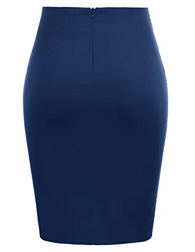 GRACE KARIN Women Vintage Solid Color Ruched Front Midi Bodycon Work Skirt CL866