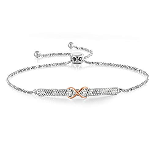 (Angelady Silver Classic Infinity Bracelets Link for Women Girls Charm Adjustable Chain Bolo Bracelets for Wife CZ Bangle Bracelet, Gifts for Mom)