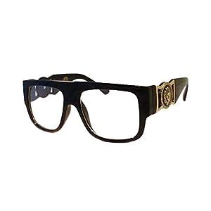 RETRO Millionaire Hip Hop Rapper DJ Night Club Clear Lens Eye Glasses BLACK
