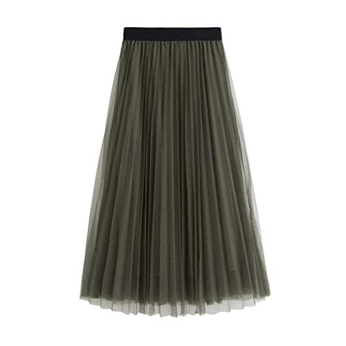Women's Lace Skirt,Sharemen A-Line Layered Feather Princess Mesh Tulle Midi Skirt Casual Fashion Maxi Skirt (Army Green,One Size)