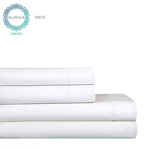 AURAA Comfort Luxury 500 Thread Count Pima Blend Long Staple Cotton Sheet, Ultra Soft Solid, Smooth Weave, 4 Pc Bedding Set,Upto 16