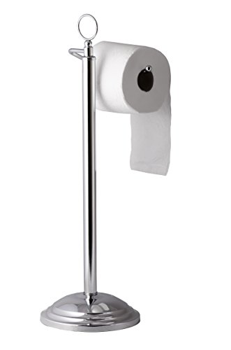 AMG and Enchante Accessories, Floor Standing Toilet Paper Holder with Reserve, TH100003 CHR,Chrome