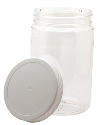 J&S - 32 Oz Plastic Jars with Screw On Lids - 4 Pack - Clear BPA Free PET Quart Sized Storage Containers with White Sealing Caps
