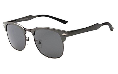 XSHINE Classic Metal Half Frame Horn Rimmed Polarized Clubmaster Sunglasses (Gunmetal Frame / Grey Lens, - Aluminum Glasses Clubmaster