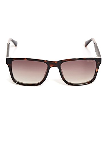 GUESS Men's Gu6928 Rectangular Sunglasses, dark havana & brown mirror, 56 - Rectangular Sunglasses Plastic