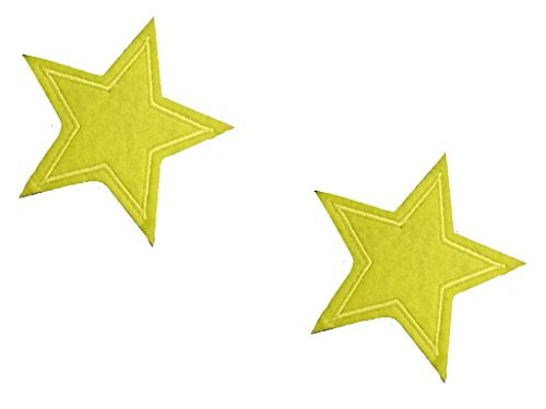 2 pieces YELLOW STAR Iron On Patch Applique Motif Fabric Children Decal 2.9 x 2.6 inches (7.3 x 6.5 - Patches Star Yellow