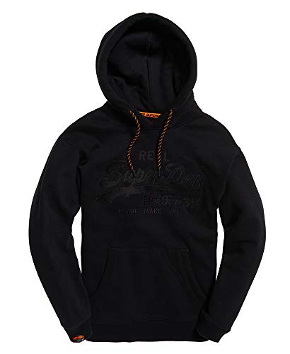 Superdry Men's Vintage Logo Applique Hoodie Sweatshirt (Black, Small)