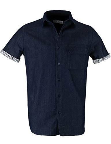 Bikkembergs - Men's Short-Sleeved Shirt BIKKEMNBERGS CC10100S3082 - L, Denim Blue