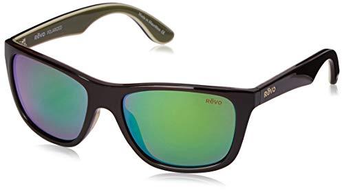 Revo Unisex RE 1001 Otis Square Polarized UV Protection Sunglasses Wayfarer, Brown/Ivory/Olive Frame, Green Water Lens