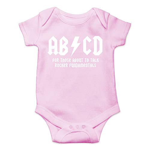 Rocks T-shirt Onesie Baby (CBTwear ABCD - AC Music Toddler DC Rock and Roll Funny Romper Cute Novelty Infant One-Piece Baby Bodysuit (Newborn, Pink))
