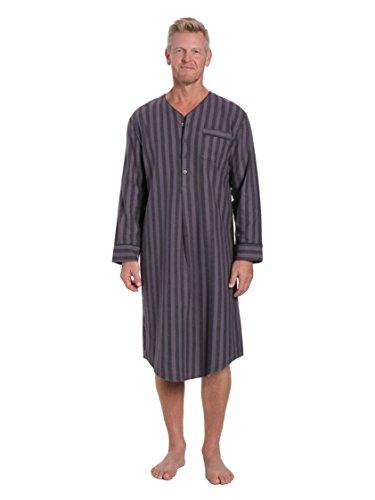 Noble Mount Men's Flannel Nightshirt - Stripes Black/Grey - X-Large