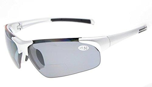 Eyekepper TR90 Unbreakable Sports Polycarbonate Polarized Half-Rimless Bifocal Sunglasses Baseball Running Fishing Driving Golf Softball Hiking Silver Frame Grey Lens +3.0