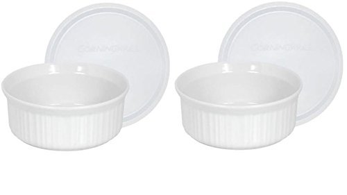 CorningWare French White Pop-Ins 16-Ounce Round Dish with Plastic Cover, Pack of 2 Dishes by CorningWare