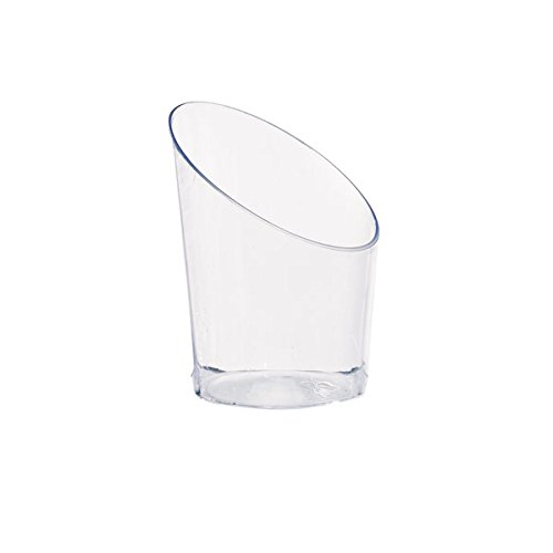 Clear Plastic Mini Cup (Case of 300), PacknWood - Recyclable Plastic Angle Cut Shot Glasses (1 oz, 1.77