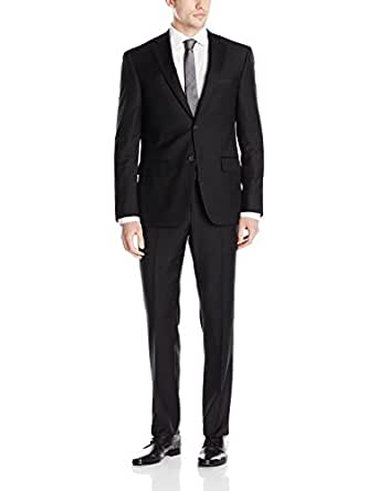 DKNY Men's Dominic Single Breasted 100% Wool Two Button Notch Lapel Slim Fit Suit, Black, 36 Short